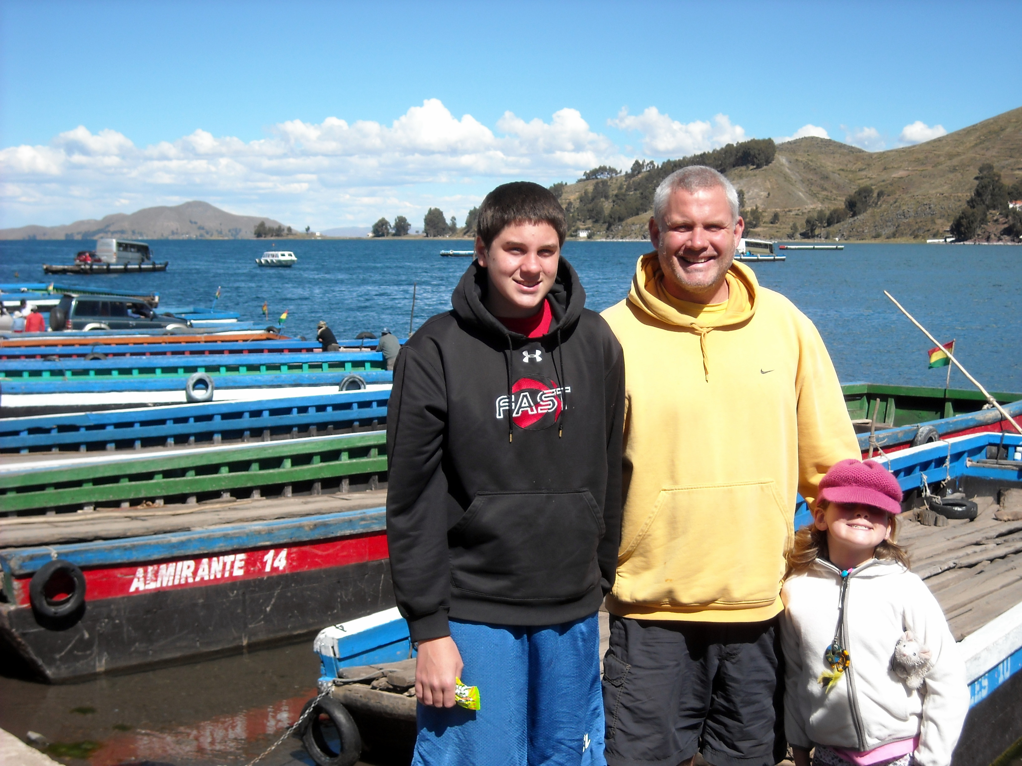 Sean, Grant, Gigi after our ferry boat ride on Lake Titicaca